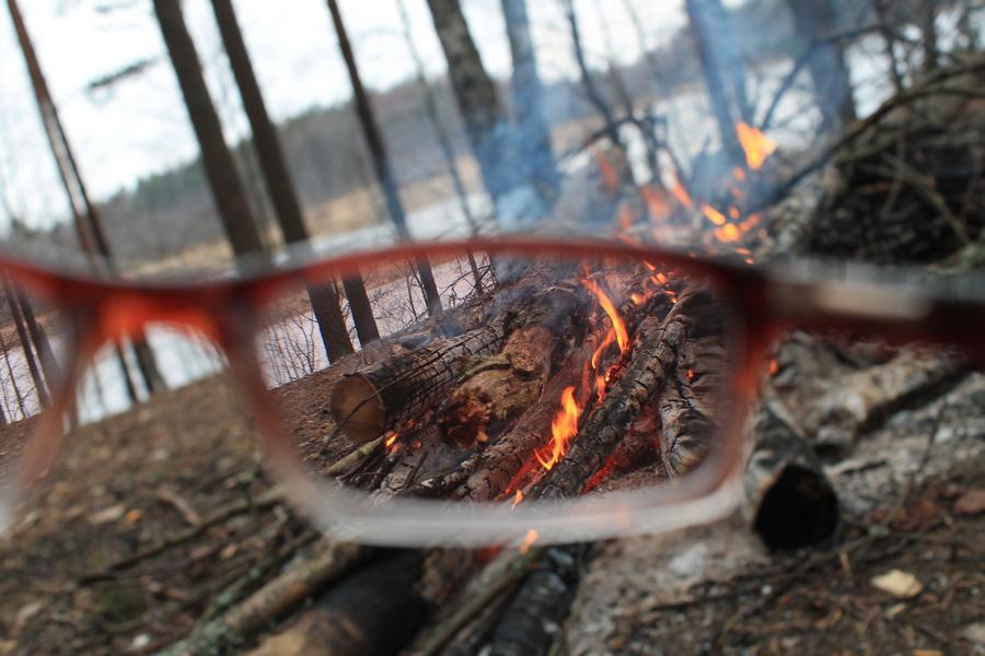 костёр огонь лес природа отдых